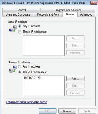 Экран 3. Изменение области действия правила входящего трафика брандмауэра Windows