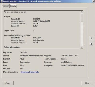 Экран 2. Пример события с ID 4625