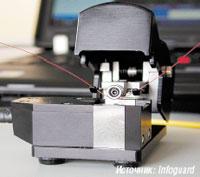 Рисунок 3. Атакующий сгибает оптическое волокно посредством специального ответвителя, чтобы получить доступ к потоку информации.