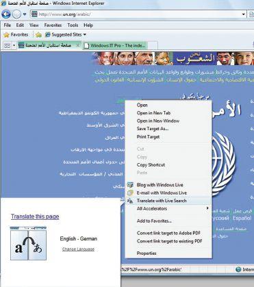 Перевод содержимого Web-сайта с помощью функции Windows Live Accelerator