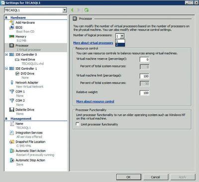 Экран 2. Назначение количества виртуальных процессоров