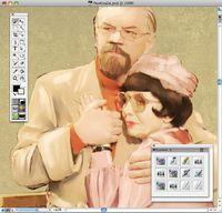 Рис. 3. Painter — основной инструмент цифровых живописцев. Наша задача — перерисовать героев, чтобы избежать огрехов, проявляющихся при увеличении недостаточно качественного изображения