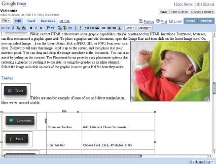 Рис. 2. Редактирование документа в текстовом процессоре Google Docs