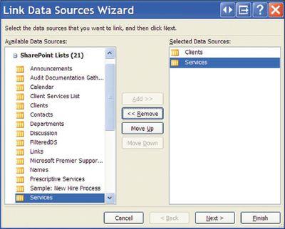 Экран 3. Связывание нескольких источников данных через мастер Link Data Sources Wizard