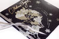 Новогодняя открытка. Эффект вьюги, зимней сказки усиливают блёстки и серебристая тесьма