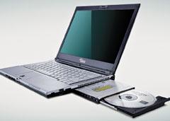 Ноутбук  Fujitsu Siemens S6410 весит всего 1,7 кг при диагонали экрана 13,3 дюйма, диск вмещает 120 Гбайт, время работы при установке вспециальный отсек второй батареи— около десяти часов