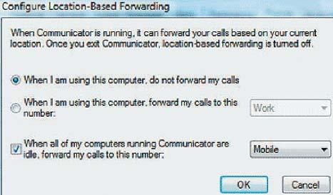 Экран 7. Перенаправление вызова при отсутствии пользователя у компьютера