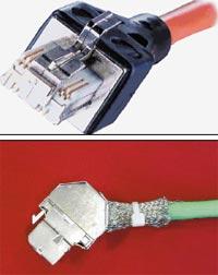 Рисунок 1. Конструкция разработанных Nexans модулей GG45, характеристики которых описаны в стандарте IEC 60603-7-7, обеспечивает обратную совместимость с RJ45. Заменив коммутационные шнуры, можно перейти от стандартных решений к будущим высокоскоростным или «мультисервисным». Рисунок 2. Розеточный модуль Volition RJ45 Категории 7 имеет компактный размер, встроенную защелку, не требует специального инструмента. Все восемь медных контактов терминируются одним щелчком. Модуль может собираться и разбираться несколько раз без ухудшения характеристик контакта. Ввод кабеля осуществляется как сверху, так и снизу, что удобно при установке модуля на рабочем месте и в зоне коммутации.