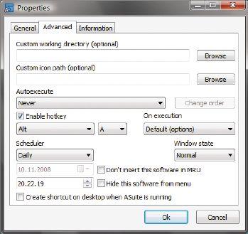 Изюминка ASuite— расширенные возможности настройки запуска портативных приложений