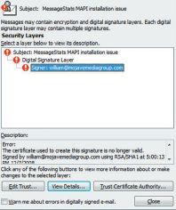 Окно Message Security Properties