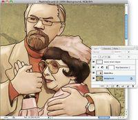 Рисунок 4 b — копируем изображение в Photoshop в режиме Multiplay и совмещаем с живописным рисунком программы Painter