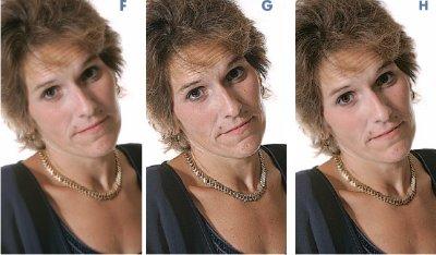 Повышение резкости лиц может подчеркнуть нежелательные детали кожи. Этого не произойдёт, если резкость повышать только в чёрном канале, обычно пустом в области лиц, хотя и содержащем детали волос и глаз. Слева направо: оригинал (F); результат интенсивного повышения резкости RGB-файла (G); резкость сильно повышена только в чёрном канале (H)
