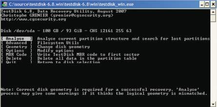 Экран 1. Главное окно TestDisk