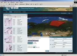 Красное поле — зона охвата одного снимка MERIS