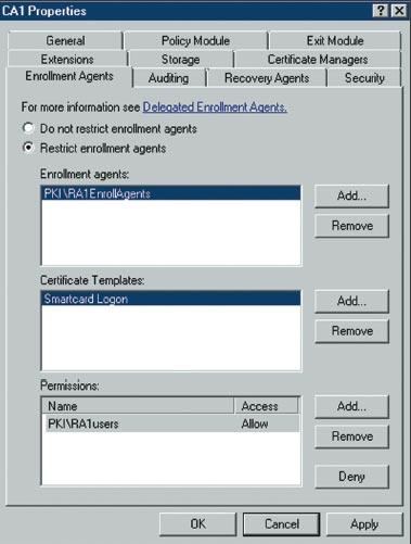 Экран 2 . Вкладка Enrollment Agents диалогового окна CA Properties