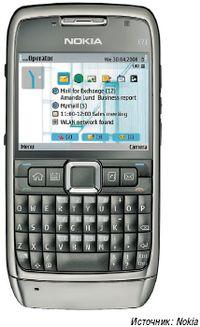 Рисунок 1. По возможностям работы с электронной почтой смартфоны, пригодные для корпоративного использования, например, Е71 от Nokia, ничем не отличаются от ПК.