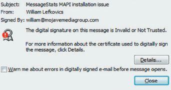 Предупреждение о недействительности цифровой подписи