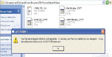 Последний вариант Gpcode «работает» с143 различными типами файлов, втом числе .bak, .doc, .jpg и.pdf. Зашифрованные файлы получают имена оригинальных спостфиксом _CRYPT, асами оригинальные незашифрованные файлы удаляются. Под конец на экране появляется требование выкупа