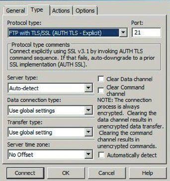Настройки CuteFTP при подключении к серверу по протоколу FTPS