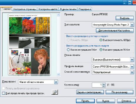 Возможности модуля вывода для Adobe Photoshop повторяют драйвер; важное дополнение: прямая печать 16-битных изображений без уменьшения цветовой глубины до 8 бит с сопутствующей потерей градаций