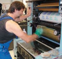 Эксперименты с балансом краска/вода проводятся на этой машине, оснащённой дополнительными регулировками увлажнением