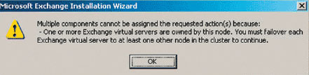 Экран 6 . Ошибка, допущенная при попытке запуска файла update.exe на системе Exchange 2003 SP2