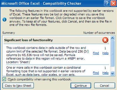 Экран 2. Отчет попроверке совместимости книги Excel