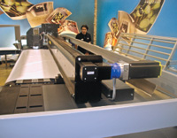 HP Scitex XP2700 — гибридный. При необходимости печати на жёстких материалах достаточно придвинуть столы спереди и сзади (один из них на снимке справа)