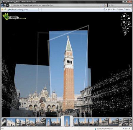 Сервис Photosynth автоматизирует объединение цифровых фотографий (их может быть как несколько штук, так и несколько сотен), формируя изображение, которое с  помощью этой технологии можно повернуть, увидеть под любым углом или увеличить, чтобы рассмотреть детали