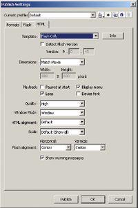 Рис.7. Вкладка Flash диалогового окна Publish Settings
