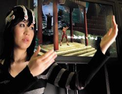Еще одним шагом кматериализации пророчества Лино Альдани стали технологии непосредственного интерфейса мозга человека скомпьютером. Компания Emotiv Systems решила включить вигровой комплект бесконтактный электроэнцефалограф. Прибор EEG представляет собой шлем, который, например, сможет считывать мимику лица итаким образом обеспечивать его более полное вовлечение вигру всредах типа Second Life