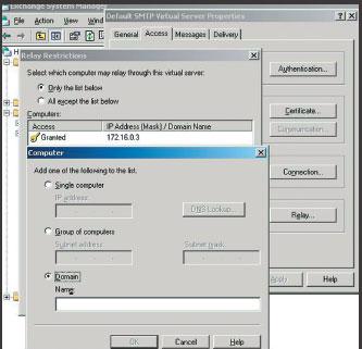 Экран 2. Настройка ограничений для SMTP-сервера openrelay
