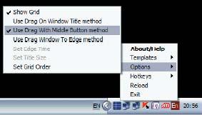 В настройках программы можно определить различные варианты срабатывания шаблона при перетаскивании окна
