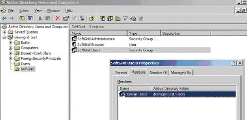 Экран 3. Учетные записи вAD игруппы дляSoftGrid