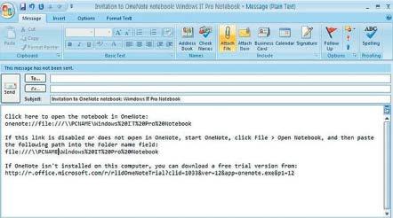 Экран 2. Рассылка информации овозможности совместного использования записной книжки вOutlook 2007