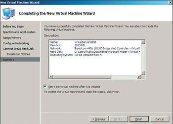 Экран 1. Создание виртуальной системы в Windows Server 2008