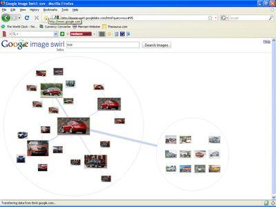 Выбранное изображение выдается в центре круга, образованного миниатюрами похожих изображений