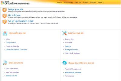 Экран 1. Стартовая страница Microsoft Office Live Small Business