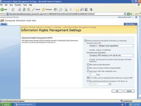Экран 3. Настройка IRM в библиотеке документов