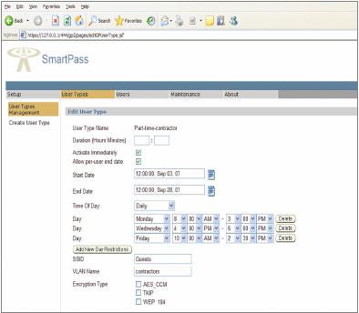 Пользовательский интерфейс программного обеспечения для беспроводных локальных сетей Trapeze SmartPass, рассчитан специально на служащих, плохо знакомых скомпьютерной техникой (например, сотрудников, работающих за стойкой регистрации). Пользуясь этим интерфейсом, даже они могут без труда создавать себе гостевые регистрационные записи