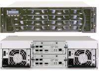 Рисунок 1. Система хранения S16F-G1430 содержит избыточные контроллеры, до восьми главных портов FC и поддерживает смешанное использование дисков SAS и SATA.