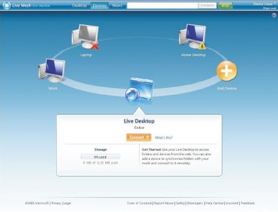Технология Microsoft Live Mesh позволяет локально запускать Web-приложения
