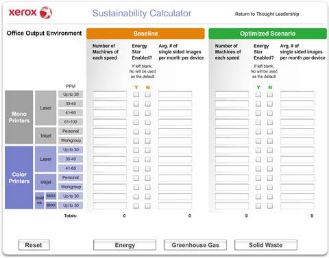 В Xerox разработали упрощенную версию программы Sustainability Calculator, рассчитанную на работу в Web