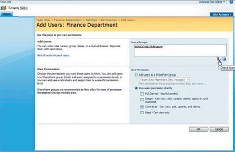 Экран 2. Настройка разрешений доступа для группы SharePoint