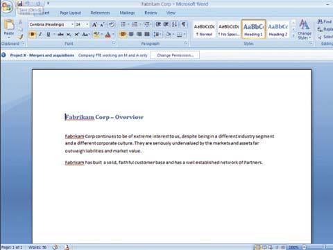 Экран 5. Открытый документ Word, защищенный RMS