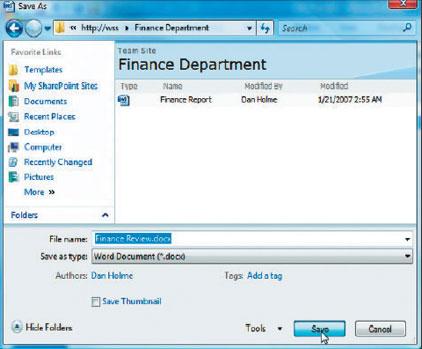 Экран 3. Сохранение документа вбиблиотеке документов вSharePoint-совместимом приложении