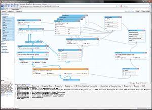 Визуальный интерфейс Yahoo Pipes позволяет создавать приложения довольно сложной структуры