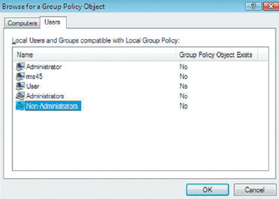Экран 1. Добавление объекта Non-Administrators Group Policy к оснастке Group Policy Object Editor