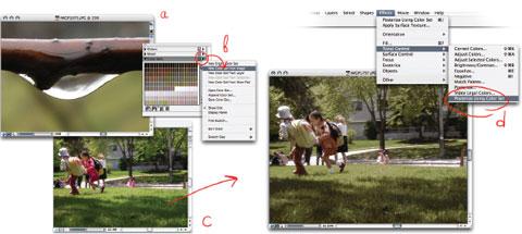Работаем с Color Sets: a) открываем файл с понравившимися световыми сочетаниями; b) делаем новый color set; c) открываем новый файл; d) присваиваем палитру новой картинке