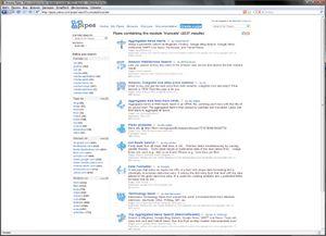 В галерее Yahoo Pipes демонстрируются структура мэшапов, использованные модули, а также работает система поиск